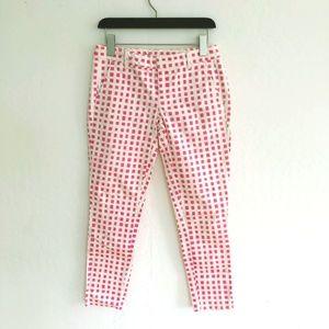 Gap Pink White Square Print Cropped Capri Pants